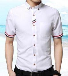 Men Short Sleeve Shirt with Stripe Details Stylish Shirts, Casual Shirts, Corporate Attire, Kurta Designs, Shirt Style, Button Down Shirt, Men Casual, Menswear, Sleeves