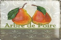Tin Sign Kitchen Decor pears  Metal Wall Plate 8X12""