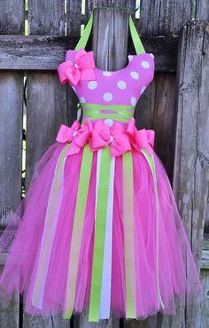 Pink and White polka dot Ballerina tutu hair by tutticutesytutus
