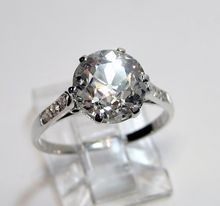 1910's Late Edwardian 3.34ct Round VINTAGE ANTIQUE Solitaire Diamond Wedding ENGAGEMENT Ring in Platinum $20000