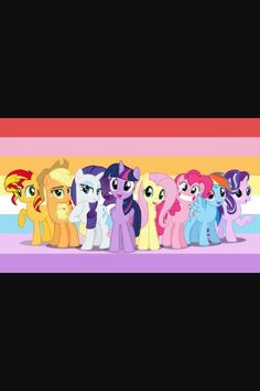 Mane 8 with their colours in the backround
