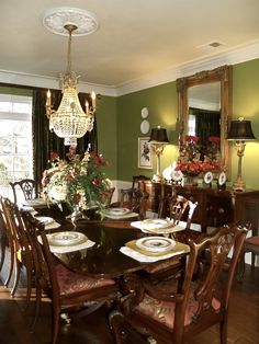 Dining Room Paint color- maybe this apple green(ish) color in dining, and a coordinating yellow/gray/green in living? or vice versa