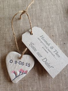 Wedding save the date, homemade clay heart and letterpresed tag ❤️