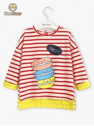 SHARE & Get it FREE | Cartoon Macarons Print High Low Striped T-ShirtFor Fashion Lovers only:80,000+ Items • New Arrivals Daily • Affordable Casual to Chic for Every Occasion Join Sammydress: Get YOUR $50 NOW!