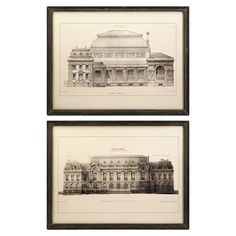 Set of two framed and matted architecturally-inspired prints.    Product: 2 Piece wall art setConstruction Material: B...