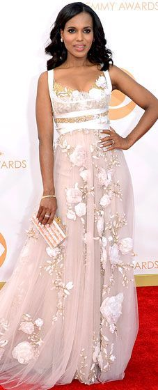 <Briana> Kerry Washington The Scandal star was poetry in motion in a pale pink Marchesa gown with empire waist and cascading rose ribbon flowers..