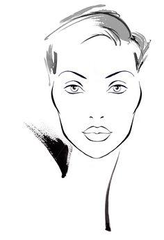 Katharine Asher – Traditional Fashion Illustrator and Animator Face Illustration, Fashion Illustration Sketches, Art Drawings Sketches, Makeup Face Charts, Street Art Banksy, Arabic Makeup, Indian Makeup, Face Sketch, Make Up Art