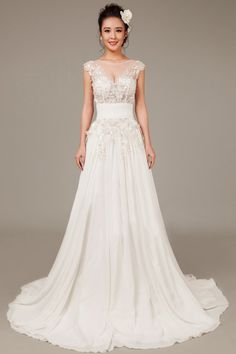 A-line Scoop Neck Sleeveless Sequined Chiffon Court Train Wedding Dress. Available at Clements and Porter.
