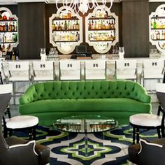Interior Design : Look out 2010 here comes the Hollywood Regency style Home Accents : What accents work with the Hollywood Regency look? Commercial Design, Commercial Interiors, Emerald Green Rooms, Emerald City, Restaurant Hotel, Kelly Wearstler, In Vino Veritas, Hotel Lobby, My Living Room