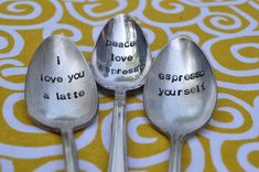 Custom Coffee Spoons - Set of 3 Hand Stamped Vintage Spoons (Pick your Words) - $26.00