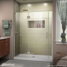 Unidoor-X 68-inch to 68-1/2-inch x 72-inch Frameless Hinged Shower Door in Brushed Nickel