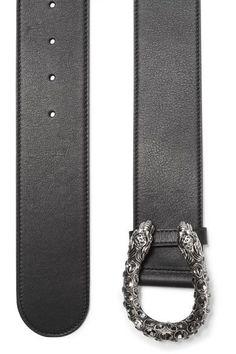 Gucci - Dionysus Swarovski Crystal-embellished Leather Waist Belt - Black - 65
