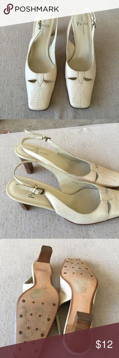 Paolo Linea size 9 women's slingback pumps. Paolo Linea off white leather sling back pumps in size 9. The upper and soles are leather. These shoes have been gently used. There are small little marks easily cleaned off. They have a lot of life left in them and are priced great. Paolo Linea Shoes Heels