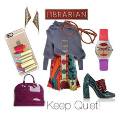 """""""Librarian Fun!"""" by bromaxx ❤ liked on Polyvore featuring Louis Vuitton, Miu Miu, Dirty Librarian Chains and Casetify"""