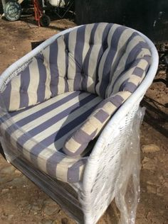 Strong retro cane with comfy new cushion and all a lovely blue and white stripe!  Just be last one!