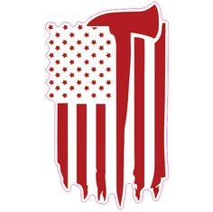 USA Flag w/ Firefighter Axe Custom Vinyl Decal / Sticker 2 Pack