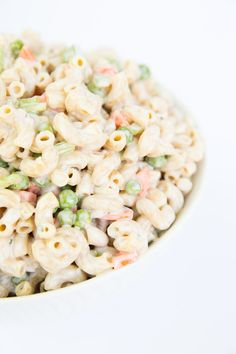 Creamy ranch pasta salad. This is a HUGE hit at potlucks and BBQ's! One of the first dishes to go!