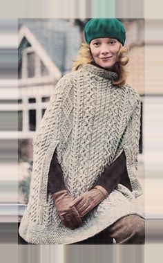 PDF Immediate Digital Delivery Vintage Knitting Pattern Ladies Superb One Size Classic Aran Cable & Diamond Neat Neck Poncho Cape with Arm Slits One S Poncho Knitting Patterns, Cable Knitting, Vintage Knitting, Knit Patterns, Knitted Poncho, Knitted Shawls, Moss Stitch, Knitting Projects, Coats For Women