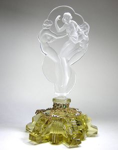 Czech Three Graces Stopper Yellow Base Perfume Bottle