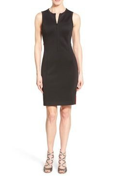 MICHAEL Michael Kors Sleeveless Front Zip Scuba Knit Body-Con Dress available at #Nordstrom