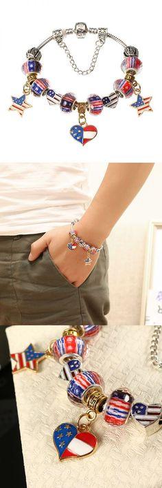 Bracelets Of Star Moon Pendant American Flag Chain Diy Beaded Bracelet For Women Men