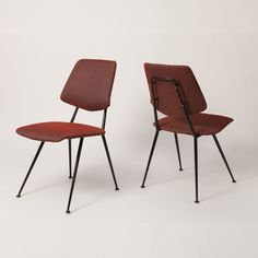 Designed by GASTONE RINALDI ITALY 1956  This four dining chairs set isdesigned by Gastone Rinaldi. The frame is made of elegant, black lacquered tubular steel, while the seating and backrest are upholstered with its red, original tapestry.  SIZE Depth: 46 cm Width: 48 cm Seat height: 45 cm Height: 84cm  STOCK 1 Available Tubular Steel, Dining Chair Set, Sofa Chair, Chairs, Tapestry, The Originals, Sofas, Italy, Furniture
