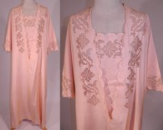 1915 Pink Cotton Drawn Cut Work Embroidered Peignoir Negligee Nightgown. It is made of a pastel pink fine quality, high thread count cotton fabric, with pink silk embroidery and drawn cut work done in a floral lace pattern design. This beautiful boudoir peignoir negligee nightgown style dressing gown is loose fitting, a long floor length, with a scalloped trim front opening, snap closures on the modesty panel insert and short sleeves.
