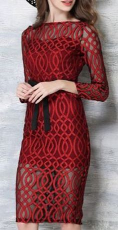 Stunning! Red and Black Elegant Long Sleeve See-Through Waist Tied Bodycon Midi Dress For Wome
