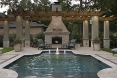 Formal Pool With Cabana and outdoor fireplace. Georgous!