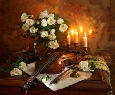 Still life with violin and painting by Andrey Morozov Painting Still Life, Still Life Art, Violin Painting, Oil Painting Pictures, Still Life Images, Still Life Flowers, Original Wallpaper, Still Life Photography, Decoupage