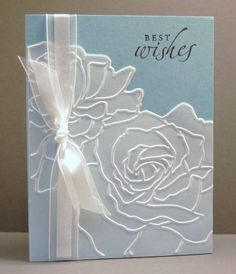 handmade wedding card by Patty Bennett: Manhattan Flower set . embossing folder roses on vellum panel overlay . luv how the base color shows through . Stampin' Up! Wedding Shower Cards, Wedding Cards, Wedding Anniversary Cards, Embossed Cards, Stamping Up Cards, Get Well Cards, Sympathy Cards, Scrapbook Cards, Scrapbooking