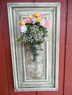 Shabby Yet Chic Primitive/Folk Art Atlas Mason Jar Wall Sconce Flower Vase (B)