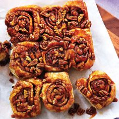 Sticky Buns, usually reserved for the morning but so good ALL THE TIME! Just 145 calories... Clean Eating. Recipe: http://www.cleaneatingmag.com/Recipes/Recipe/Sticky-Buns.aspx#