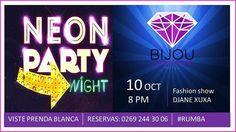 Se viene a #PuntoFijo en #BijouAmethyste una noche única e irrepetible #NeonParty con @djanexuxa +Cocteles+Show Neon viste prendas blancas y etiqueta a tus amigos #ambarterrazalounge #quartzroserestaurante #IgersPuntoFijo #DNB #Party #Exclusive ✨ Reservaciones al (0269) 244 23 45/244 31 35