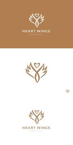 Heart wings logo template.