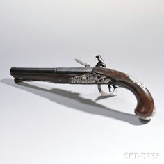 Silver-mounted English Flintlock Pistol Made by Clark