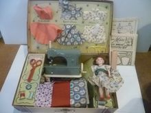 1940's Child's Sew Necchi Hasbro Sewing Machine Kit with Doll Original Box $35