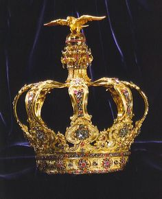 Portuguese Crown in Diamonds Rubies Sapphires Emeralds and Gold 8.5 inches high