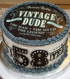 "Popular ""Vintage Dude"" themed birthday cake"