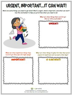 Urgent, Important...It Can Wait! is an effective Time Management tool to help kids get organized. Find this worksheet and more resources at www.mylemarks.com! #timemanagement #organizationskills #socialemotional #copingskills #mylemarks