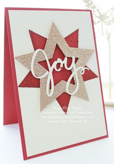 handmade Christmas card from Lizy's House Of Cards: Stars of Joy ... red, white with champagne glitter paper ... layered die cut stars ... die cut JOY on top ... clean, fresh look ...