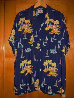Duke Kahanamoku - Vintage 1950's Cisco Hula Palm Rayon Hawaiian Shirt - TheHanaShirtCo