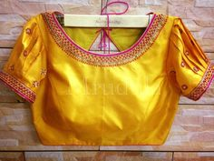 Custom fit pure silk blouse with bead thread and sequin work on neck and sleeves. Pattu Saree Blouse Designs, Blouse Designs Silk, Bridal Blouse Designs, Blouse Patterns, Lehenga Designs, Lehnga Blouse, Simple Blouse Designs, Stylish Blouse Design, Pure Silk