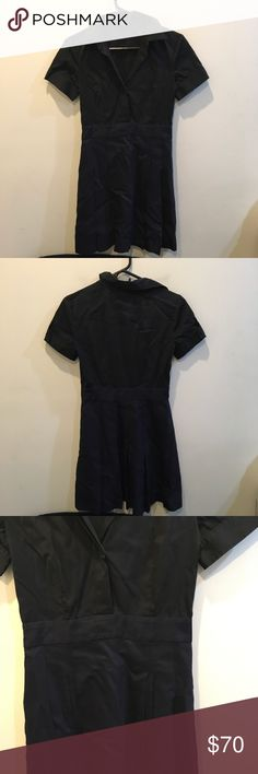 Theory Black Linen Blend Pleated Collared Dress Very stylish and modern dress from Theory that has a collar and short sleeves- a Pleated bottom half that is a Linen blend and lined. Size 2 ideal for the office or a casual Occasion! Theory Dresses