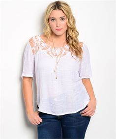 Fun white woven relaxed fit top has cool crocheted design on yoke and back.Woven White Top