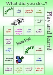 A board game on past simple tense. Students answer the questions on the squares using past simple and time expressions. English Games, English Activities, English Fun, English Lessons, Learn English, Simple Past Tense, Simple Present Tense, English Teaching Materials, Teaching English