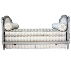 French Louis XVI Style Painted and Upholstered Daybed | From a unique collection of antique and modern day beds at https://www.1stdibs.com/furniture/seating/day-beds/