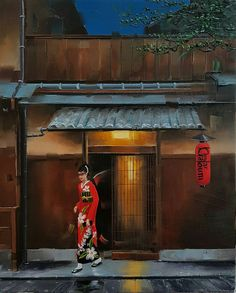#kamiargajoum #gajoum #exhibition #art #artoftheday #oilpainting #paintingoftheday #impressionism #contemporaryart #kyoto #japan #japanese #izakaya #scene #night #atmosphere #light #beautiful #gorgeous #lovely #red #kimono #style #maiko #flowerprint #きもの  #lesoleilfineartgallery Kimono Style, Kyoto Japan, Beautiful Gorgeous, Flower Prints, Art Day, Impressionism, Contemporary Art, Scene, Japanese