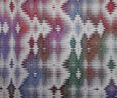 """Snow Falling on Spruce Forest Cotton wall hanging, 4-color double weave with hand dyed warp, 45"""" wide. Included in the Mountain Majesty exhibit at Convergence 2004, this won an award for complex weaves. By Bonnie Inouye"""