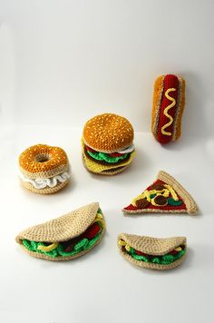 Toys Patterns amigurumi ravelry Fast Food Collection - Hamburger - Taco - Bagel with Cream Cheese - Hotdog - Pizza Slice - Toy Food - Play Kitchen - CROCHET PATTERN Crochet pattern by Flying Dutchman Crochet Design Crochet Food, Crochet Gifts, Cute Crochet, Easy Crochet, Knit Crochet, Crochet Cake, Food Patterns, Crochet Patterns Amigurumi, Crochet Dolls
